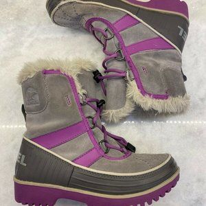 SOREL Gray and Purple Snow Boots Fur Lined Youth 2